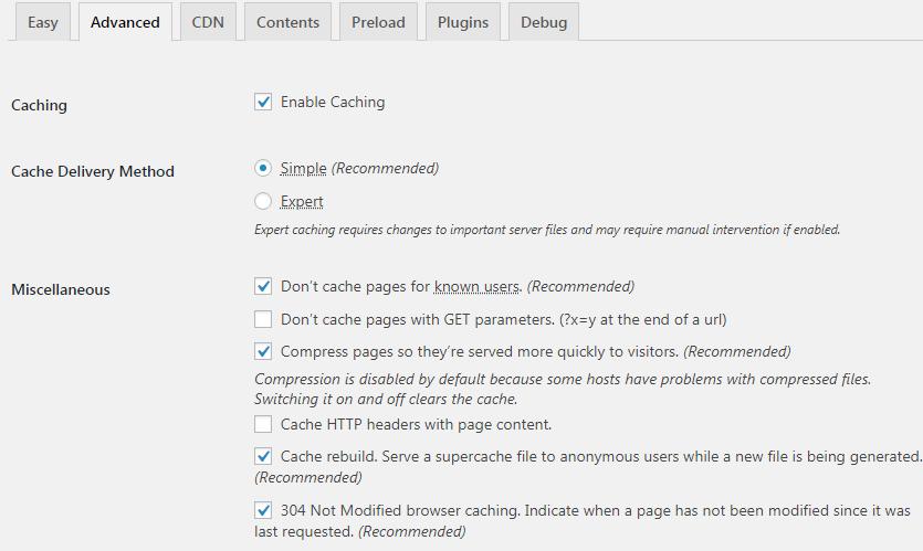 wordpress speed optimization, speed optimized, WP Super Cache Settings