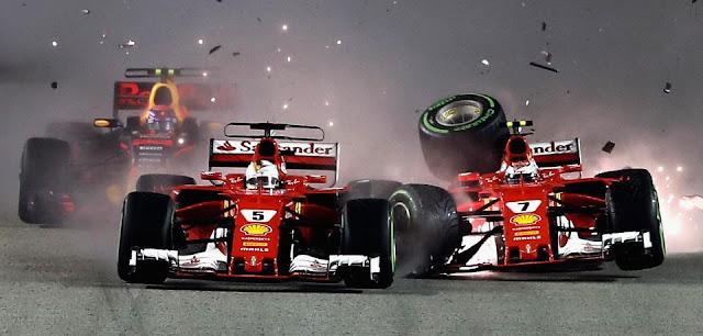 Largada caótica em Cingapura tira Sebastian Vettel e Verstappen da prova na 1ª volta
