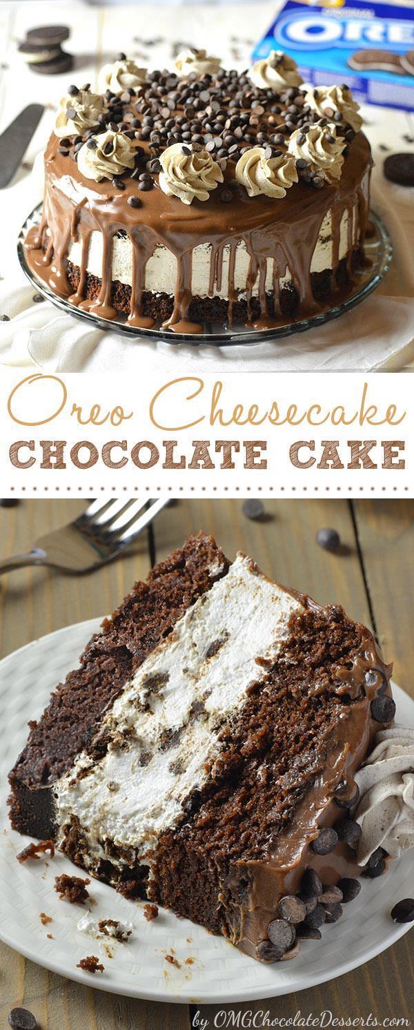 Oreo Cheesecake Chocolate Cake | My Kitchen Recipes