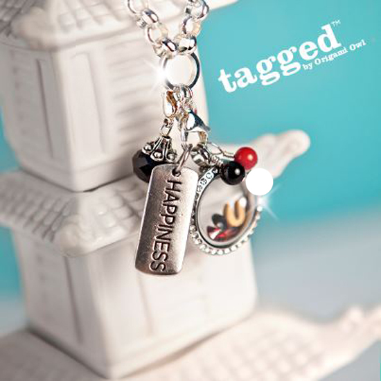 Happiness Tagged Necklace & Origami Owl Living Locket from StoriedCharms.blogspot.com