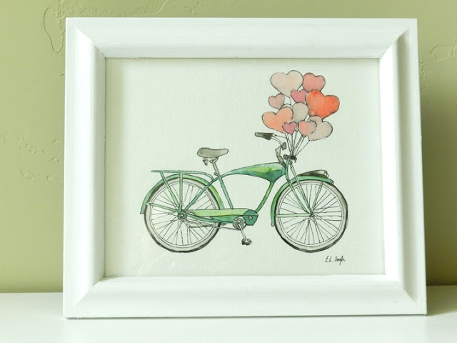 watercolor vintage bicycle