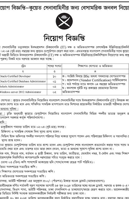Post: Civil Staff Officer Organization: Civilian recruitment for Kuwait Army (Under Bangladesh Army)