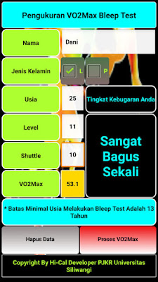 Aplikasi Android Pengukuran VO2Max Bleep Test Apk