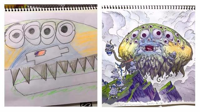 Papá transforma los dibujos de sus hijos en geniales escenas de cómics