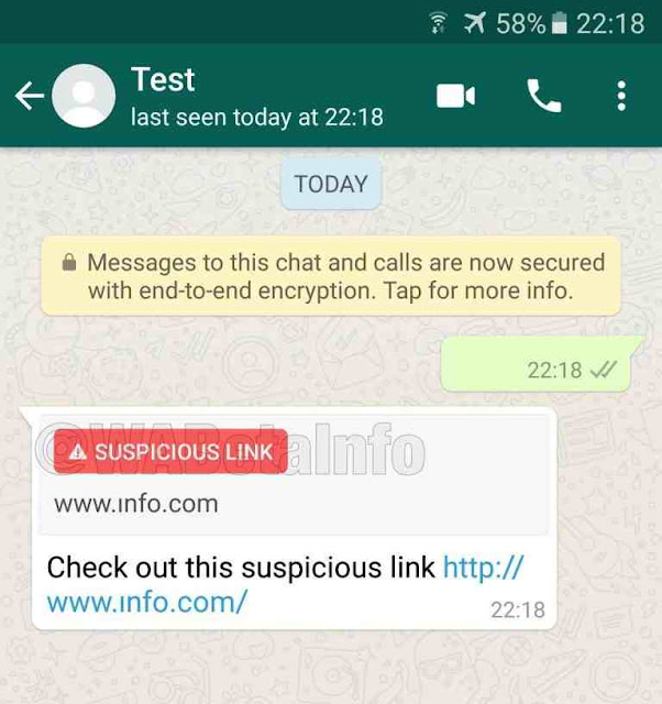 Recurso novo que detecta links suspeitos no Whatsapp.