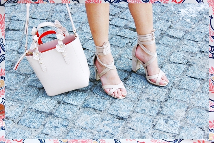 Zara reversible bag woth flowers.Beige wrap suede sandals.