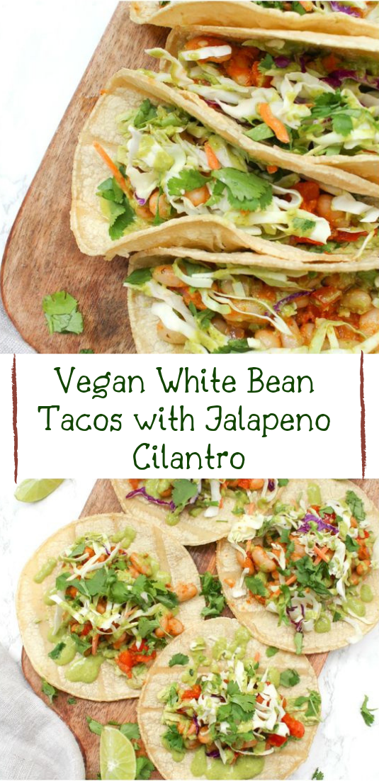 Vegan White Bean Tacos with Jalapeno Cilantro #vegan #recipevegetarian