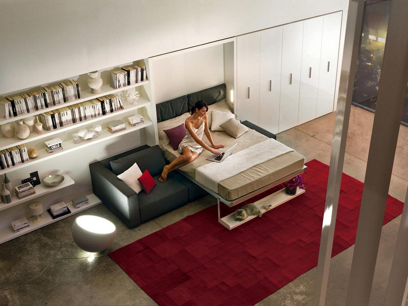 salon cama abatible con sofa abierta