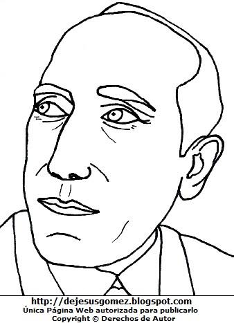 Cara de Amado Nervo para colorear, pintar o imprimir. Dibujo de Amado Nervo hecho por Jesus Gómez