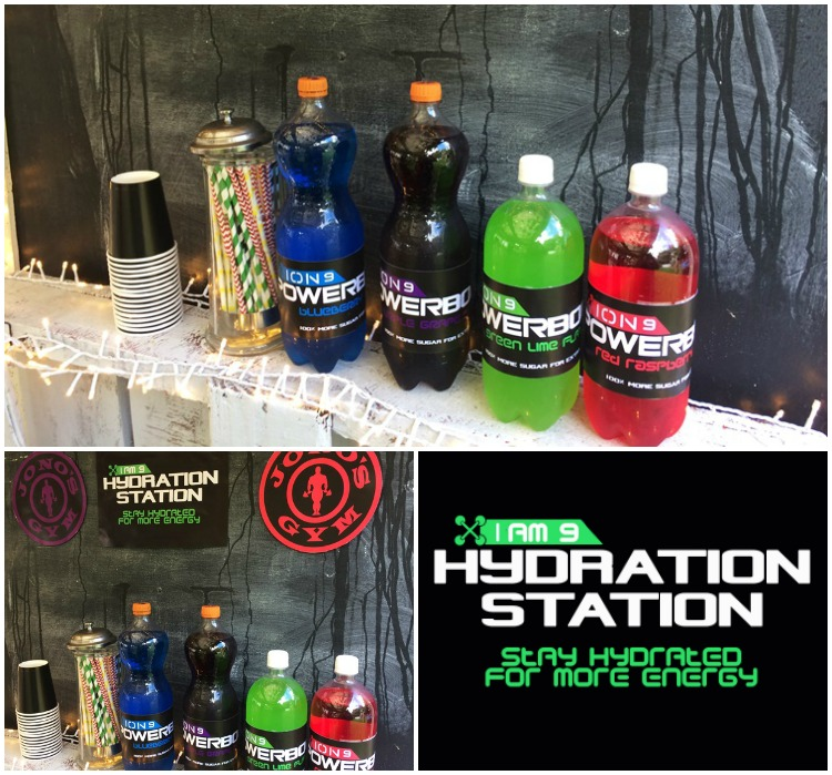 Sports Party Drinks Station - fake powerade with homemade labels