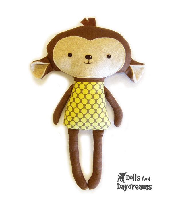 Dolls And Daydreams - Doll And Softie PDF Sewing Patterns: Monkey ...