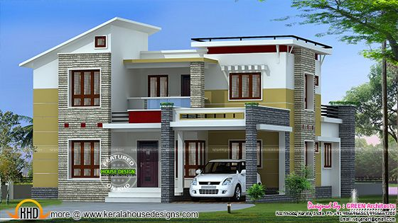 2200 square feet slanting roof mix home kerala home for Metal roof 1500 sq ft house