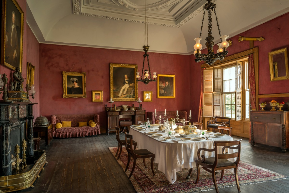 In A Historic House Such As Hyde Hall This Involves Much More Work Than Simply Painting Over An Unwanted Color Heres What The Dining Room