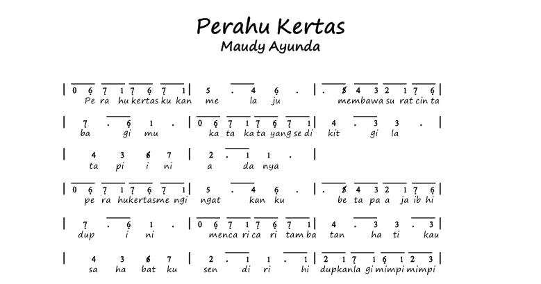 kumpulan not angka: not angka lagu maudy ayunda - perahu