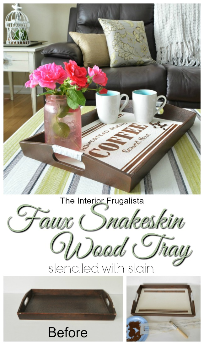 Faux Snakeskin Wood Coffee Tray Stenciled With Stain