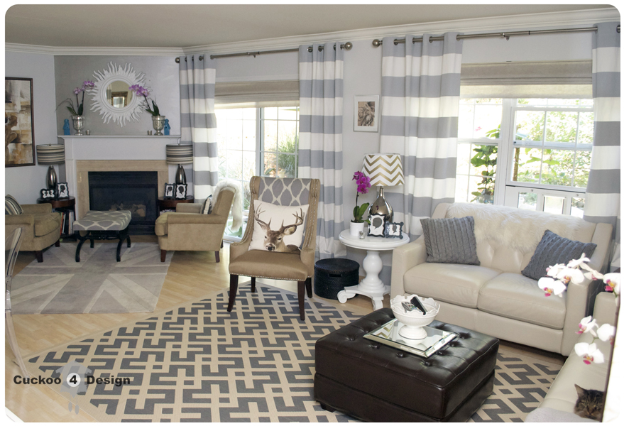 Grey striped curtains living room living room for Grey and neutral living room