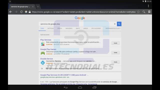 Google Play services como resultado de búsqueda en Google