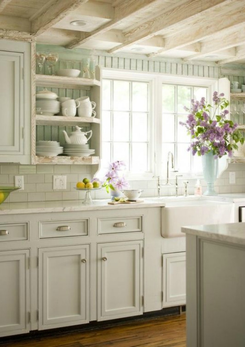 Gorgeous modern farmhouse kitchen with beadboard - found on Hello Lovely Studio