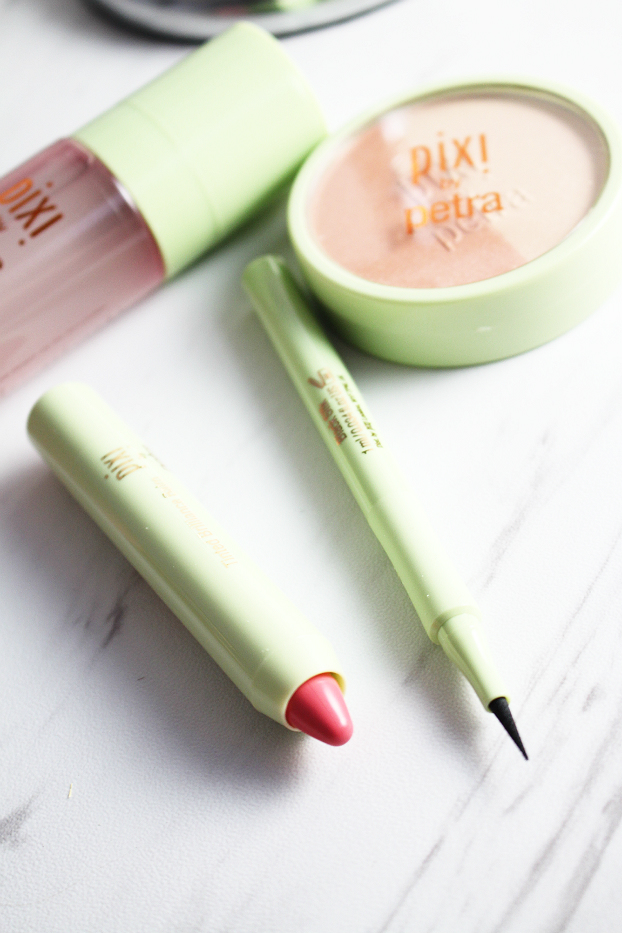 Pixi Beauty Blush Duo, Pixi Nourishing Lip Polish, Pixi Tinted Brilliance Balm, Pixi Lash Line Ink, Pixi Makeup Fixing Mist, Summer Makeup