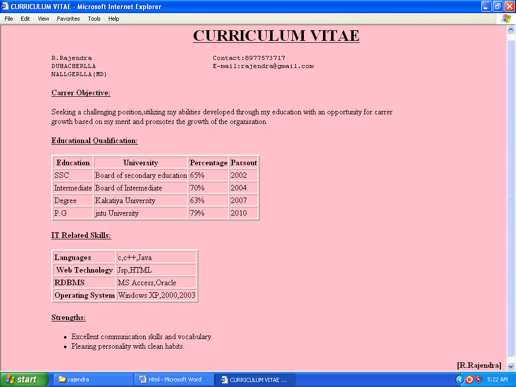 Write an html program on preparing curriculum by using for Html program for table