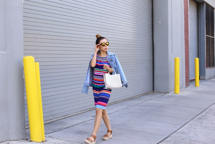 Joe fresh Print Crepe Dress, quay sunglasses, ann taylor laser cut crossbody tote, sole society sandals, denim jacket, spring style, nyc fashion blog