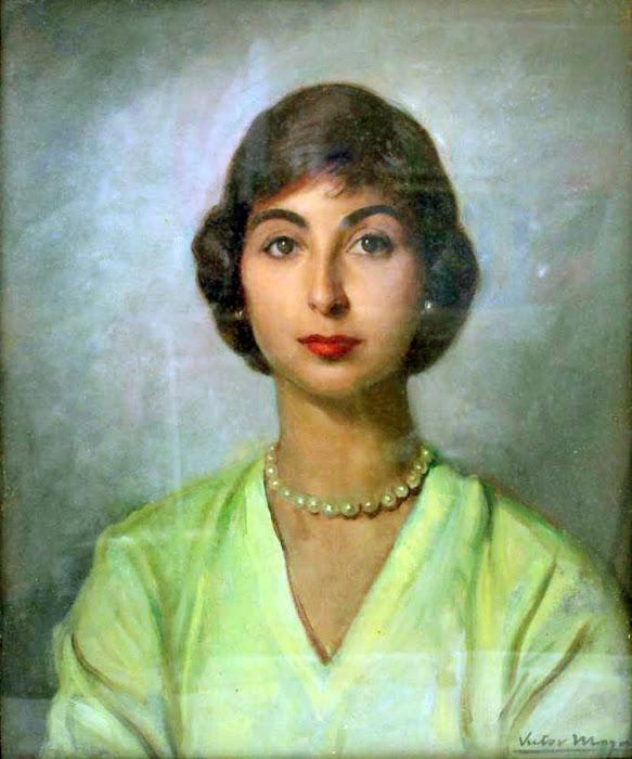 Retrato de una dama, Victor Moya Calvo, Pintor español, Pintores Valencianos, Retratos de Victor Moya Calvo, Pintores españoles, Pintor Victor Moya, Pintores Valencianos