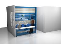 Meja Pendaftaran Puskesmas - Furniture Kantor Semarang - Backdrop Panel Huruf Timbul Nama Perusahaan