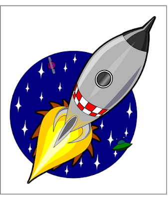 A cartoon rocket flies through space.
