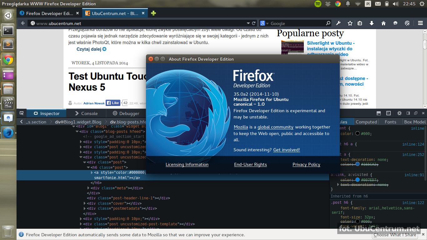 Firefox Developer Edition - instalacja w Ubuntu | Ubuntu