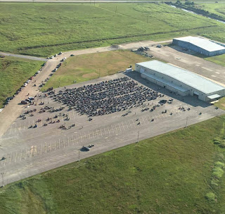 Aerial photo: 806 lady bikers staged at the airport