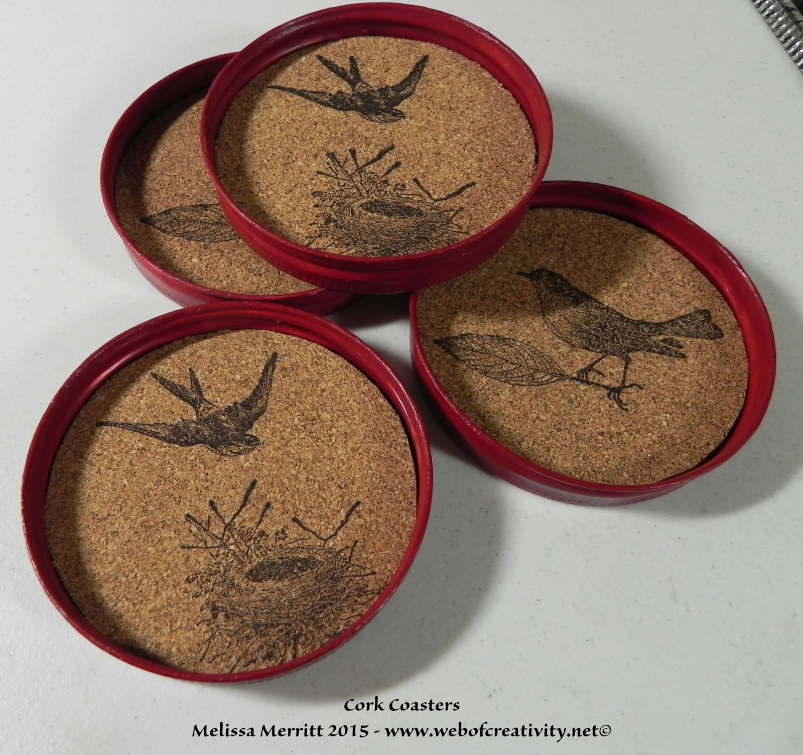 Cork Jar Web Of Creativity Cork Jar Lid Coasters