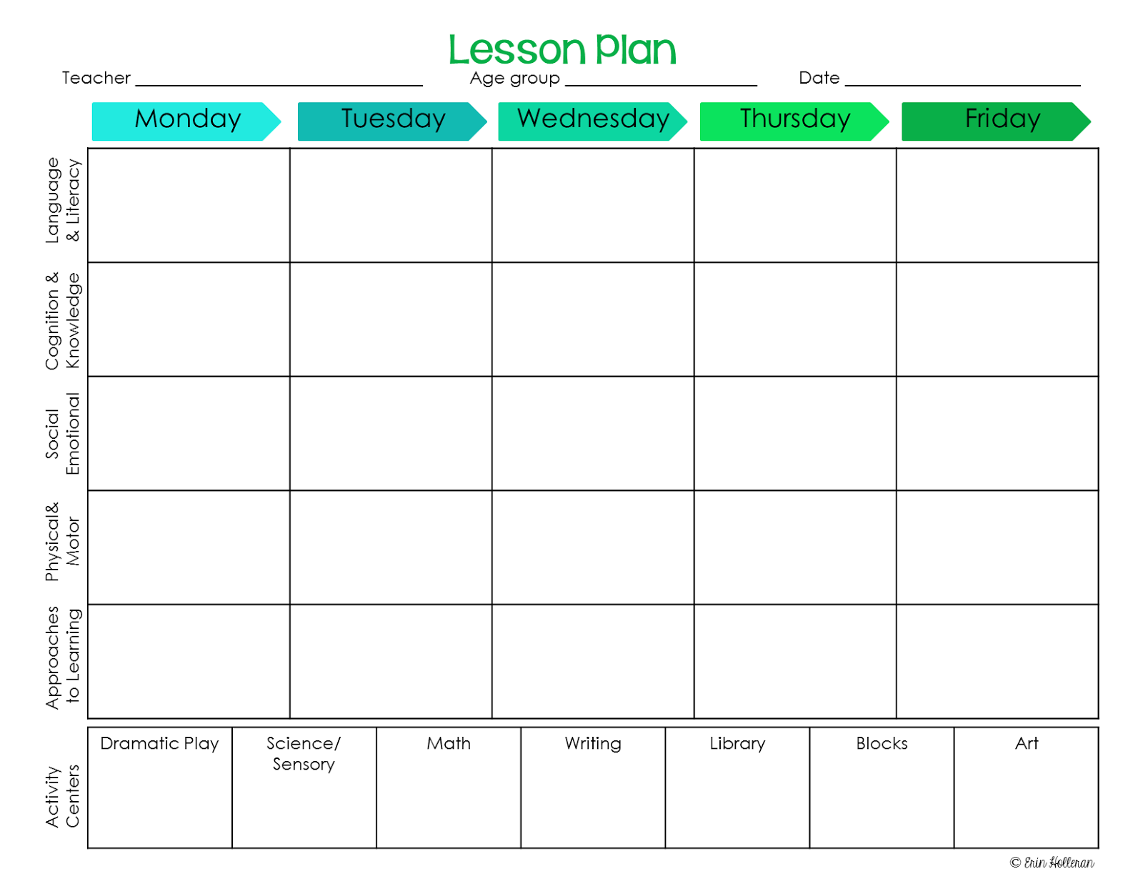 activity programme template - preschool ponderings make your lesson plans work for you