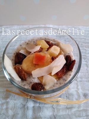 Chía, pudding, leche de almendra,frutos secos