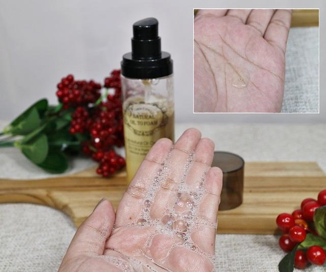tekstur amittie natural oil to foam cleanser
