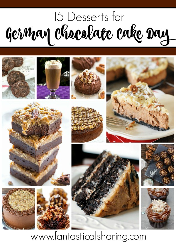 15 Desserts for German Chocolate Cake Day // Whether it's the classic cake or a dessert inspired by the cake, these 15 recipes are perfect for celebrating today! #cake #germanchocolate #coconut #dessert