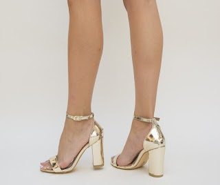 sandale lacuite aurii cu toc gros elegante la moda