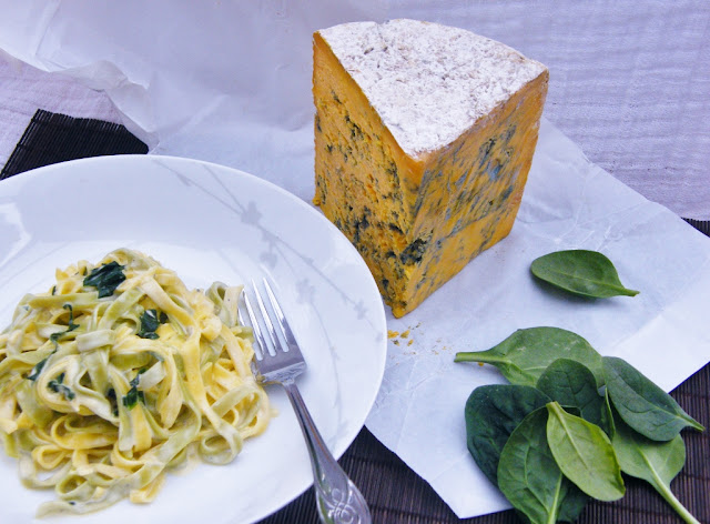 Fettuccine with Creamy Blue Shropshire & Spinach