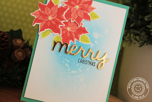 Sunny Studio Stamps: Petite Poinsettias Simple Merry Christmas Card by Eloise Blue