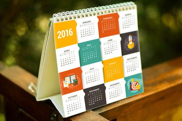 Mockup PSD Kalender 2019 Terbaru - Free Square Calendar PSD Mockup