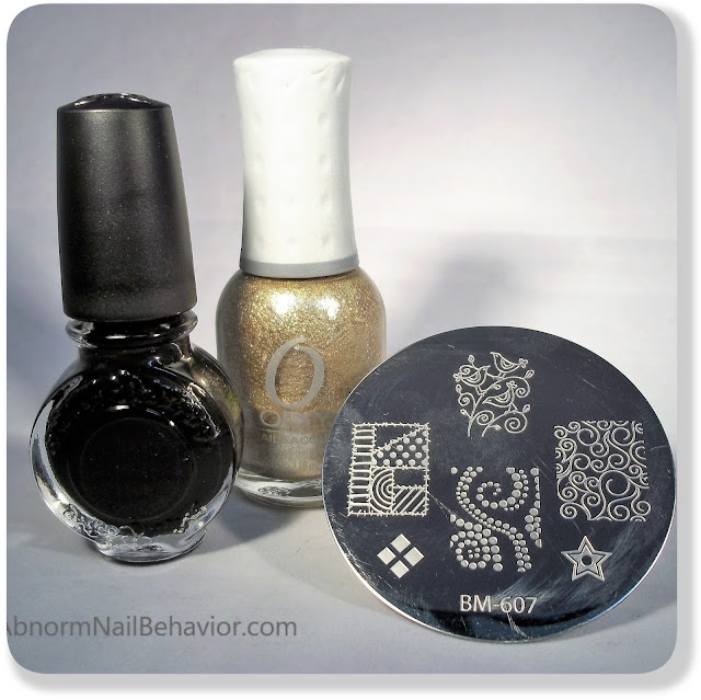 Black and gold stamping polish