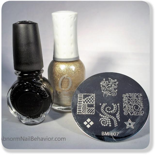 Black and gold stamping polish