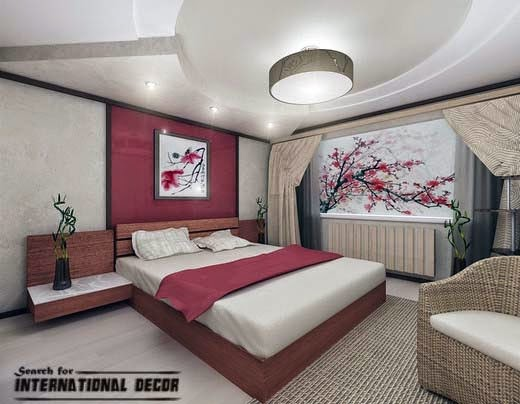 Japanese Bedroom Interior Designs, Plasterboard False Ceiling