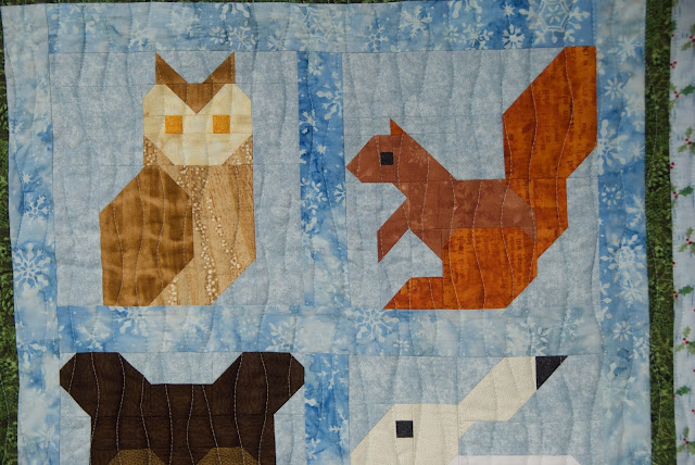 owl quilt block, squirrel quilt block
