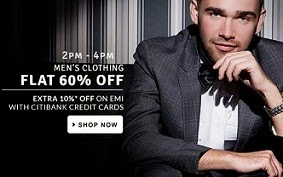 Great Offer: Flat 60% Off on Men's Clothing @ Flipkart(Limited time Deal)