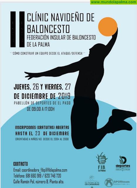 El Cabildo de La Palma y la Federación Insular de organizan el II Clínic Navideño de Baloncesto