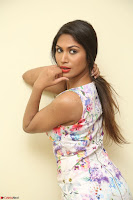 Nishi Ganda stunning cute in Flower Print short dress at Tick Tack Movie Press Meet March 2017 020.JPG