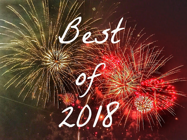 'Best of 2018' text on fireworks background