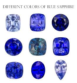 Different color tones of blue sapphire