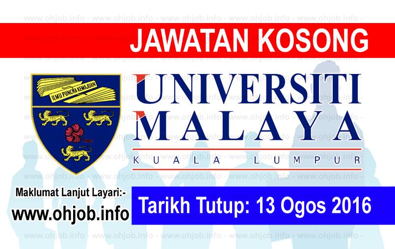 Jawatan Kerja Kosong Universiti Malaya (UM) logo www.ohjob.info ogos 2016