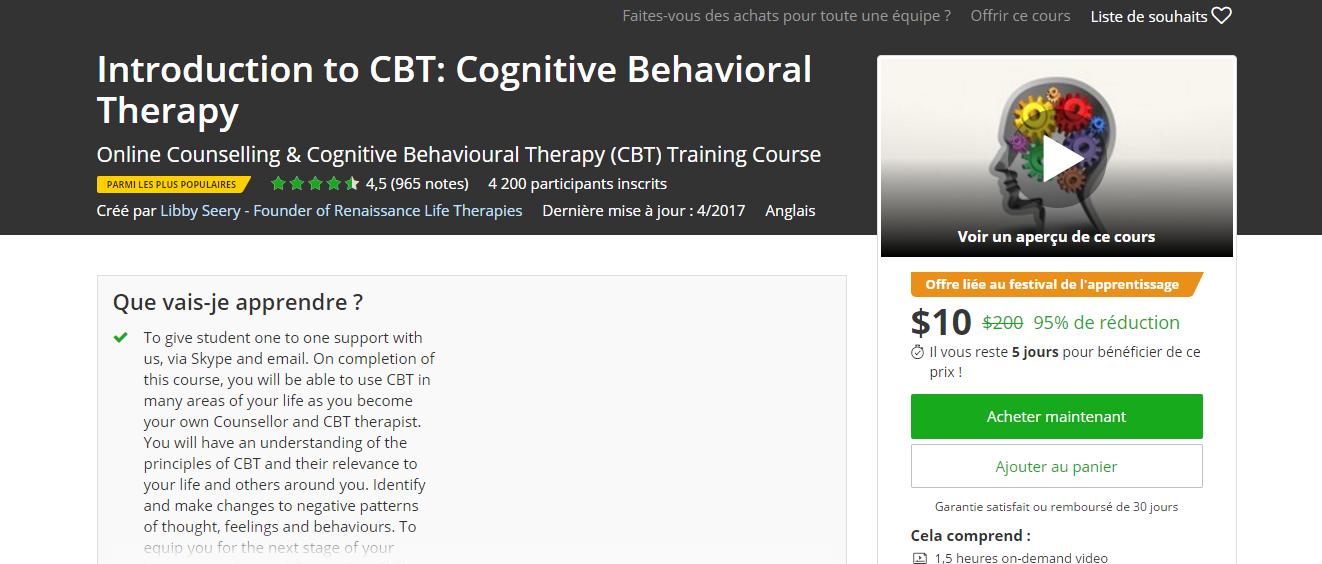 Udemy 95 Off Introduction To Cbt Cognitive Behavioral Therapy